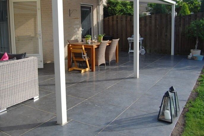 Terrastegels 100x100 - Chinese Hardsteen - Gezoet & Getrommeld
