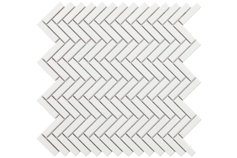 Mozaïek wandtegels - Chevron White Gloss