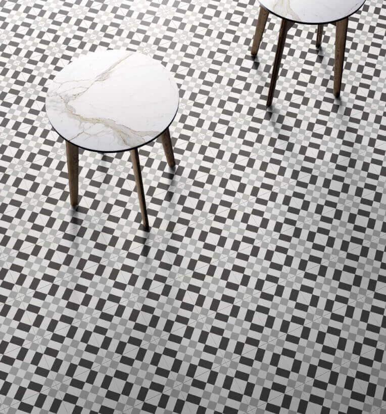 Witte vloertegels - Patchwork Black & White 02