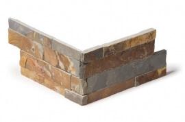 Leisteen wandtegels - Rusty Slate Stone Panels Flat Face - Hoekstuk