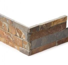 Antraciet wandtegels - Rusty Slate Stone Panels Flat Face - Hoekstuk
