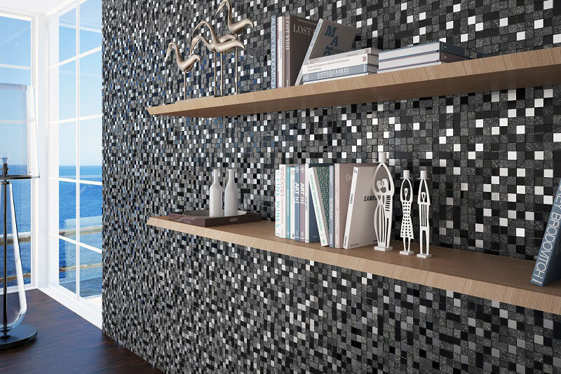 Glas Mozaiek - Cubik Black