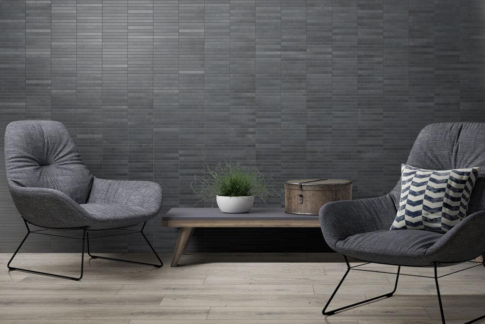 Wandtegels Basalt Look - Mark Black mozaïek