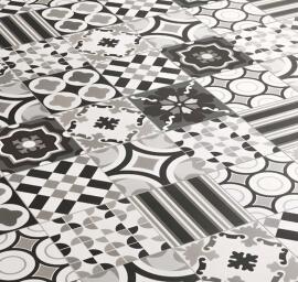 Zwarte vloertegels - Patchwork Black & White - Mix
