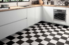 Vloertegels 20x20 - Patchwork Black & White - Black