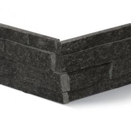 Antraciet wandtegels - Black Kwartsiet Stone Panels - Hoekstuk