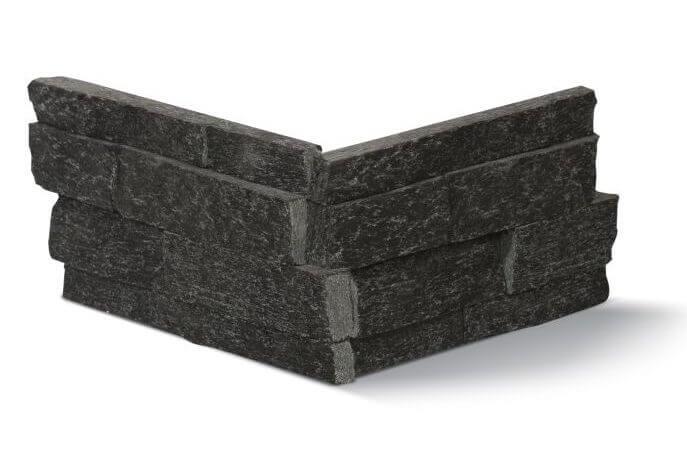 Stonepanels - Black Kwartsiet Stone Panels - Hoekstuk