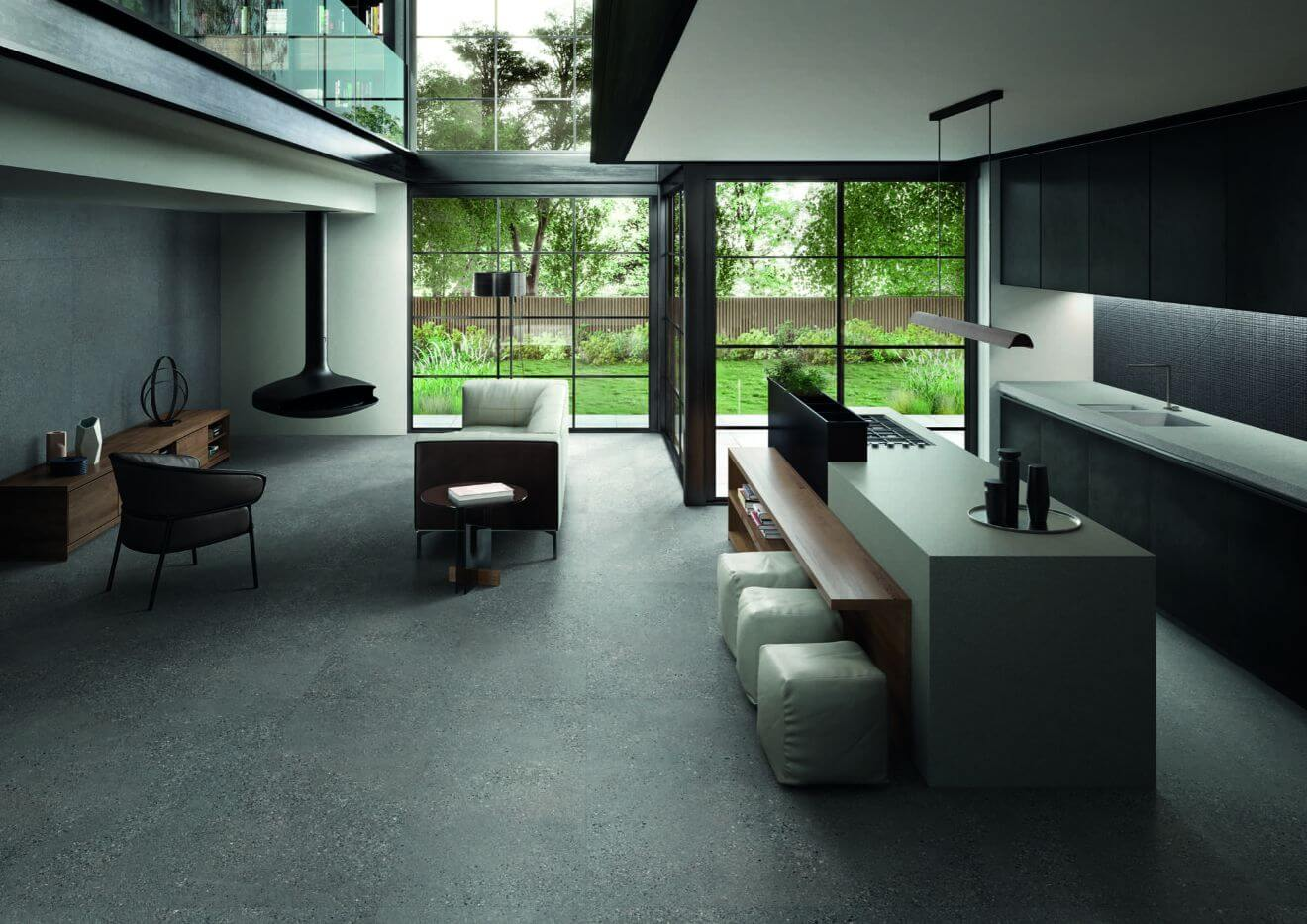 Vloertegels betonlook 90x90 cm - Grainstone Fine Dark - Naturale