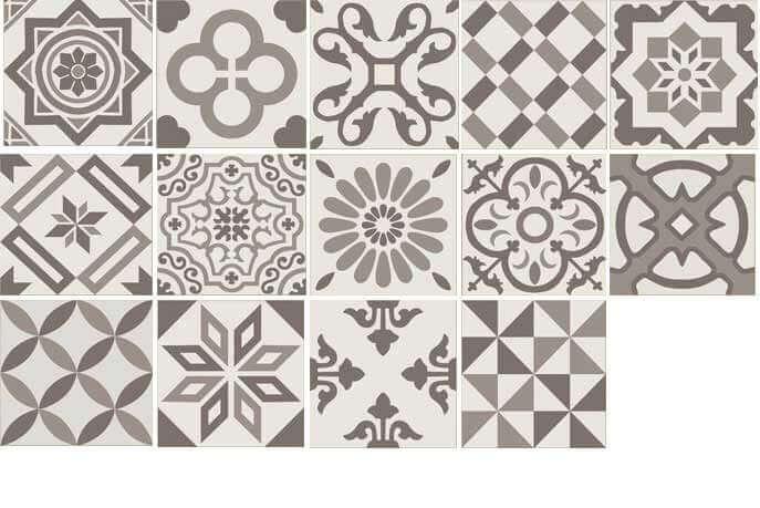 Bruine vloertegels - Antigua Mix Gris 20x20