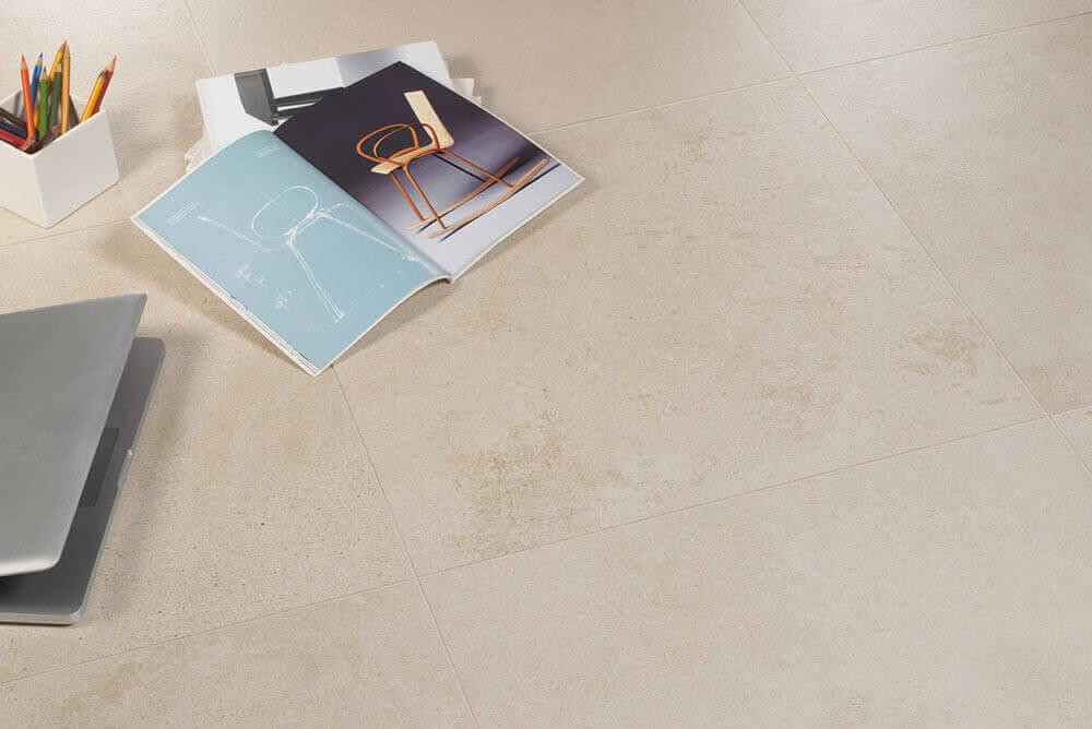 Vloertegels betonlook 80x80 cm - Concrete Gravel Ivory Platinum