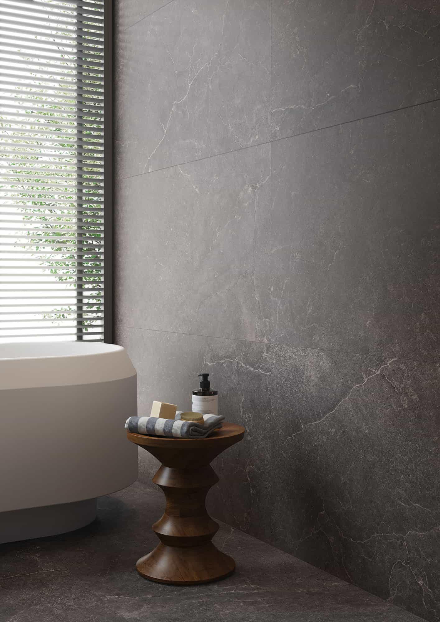 Wandtegels 90x90 - Lithos Carbon - Sabbiata