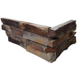 Antraciet wandtegels - Rusty Slate Stone Panels Split Face - Hoekstuk