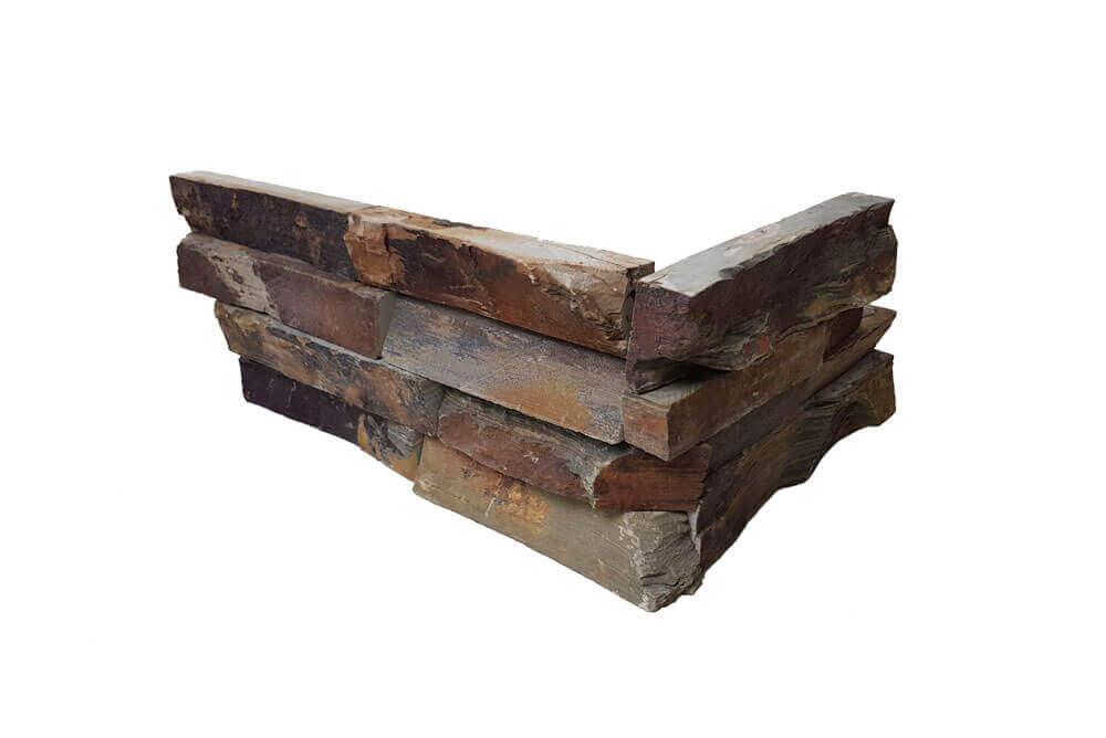 Natuursteen strips - Rusty Slate Stone Panels Split Face - Hoekstuk