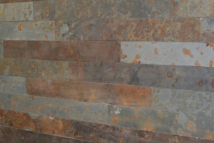 Natuursteen strips - Leisteen Oxide Muurstrips