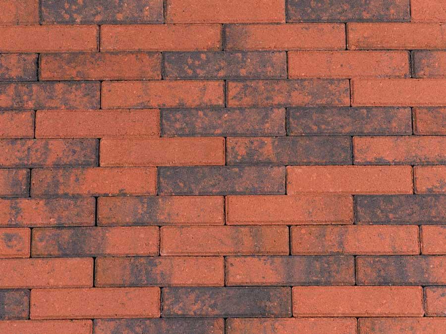 Betonbestrating - Sierbestrating Waalformaat Rood / Zwart