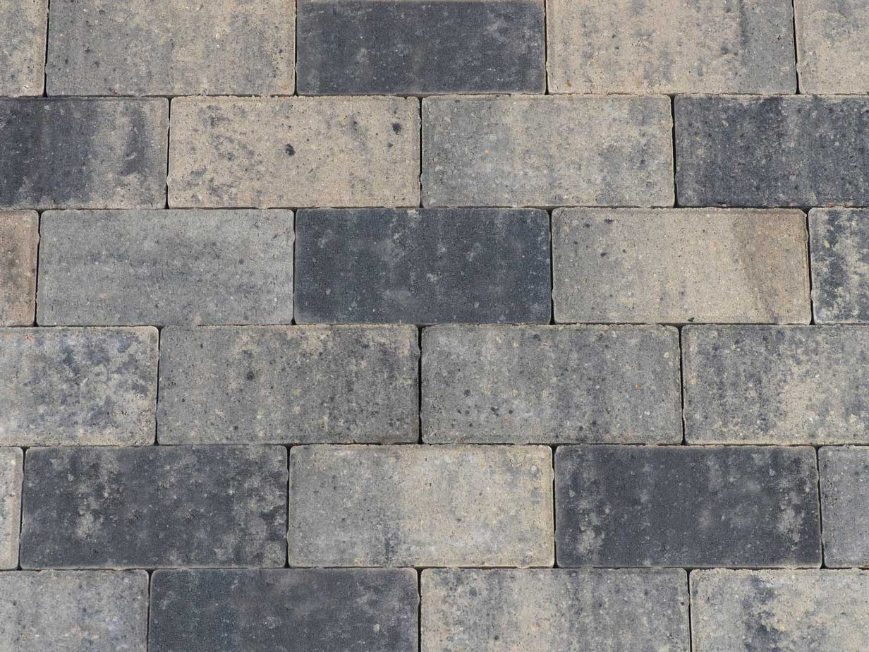 Betonbestrating - Betonstraatsteen Grijs / Zwart
