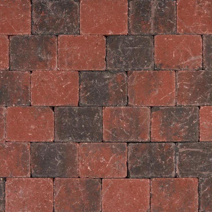 Betonbestrating - Tambour Rood-Zwart - Getrommeld