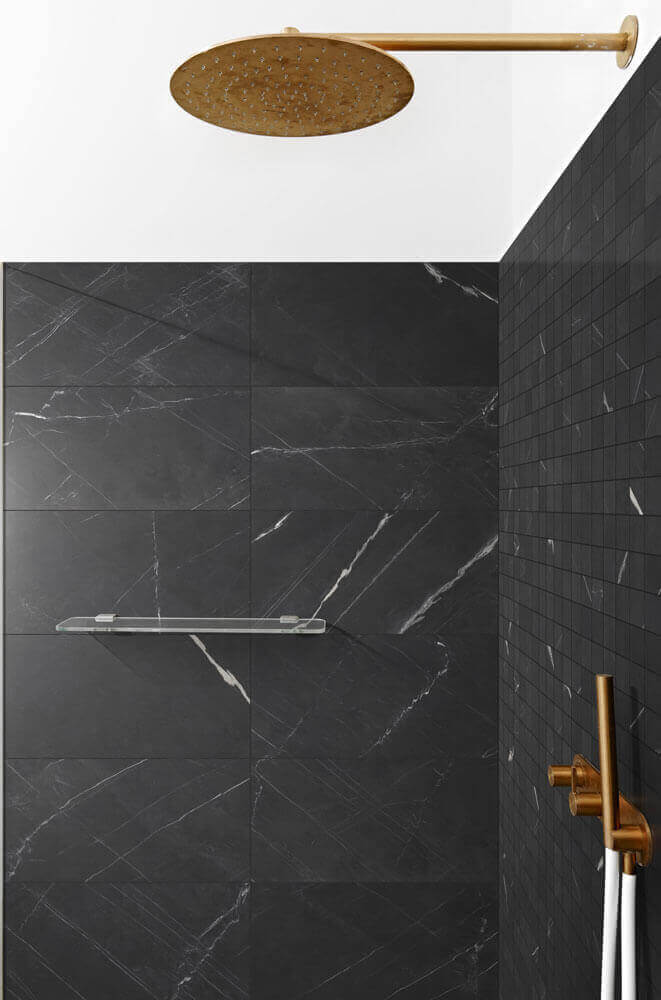 Vloertegels betonlook 30x60 cm - Blake Nero Veined