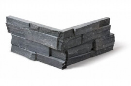 Antraciet wandtegels - Black Slate Stone Panels Split Face - Hoekstuk