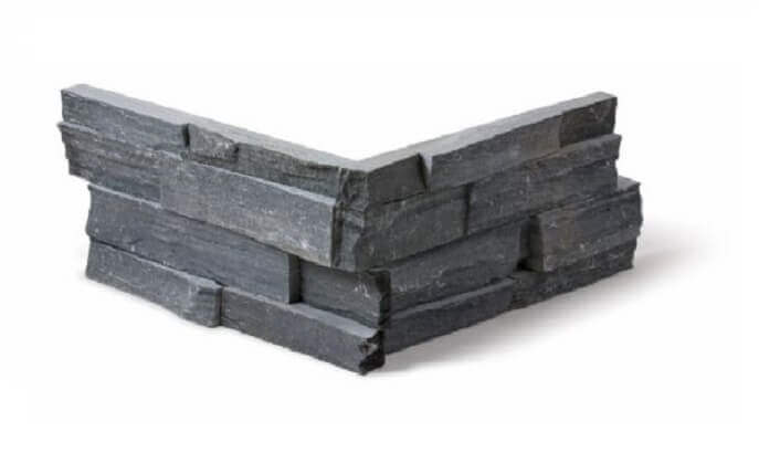Muurbekleding - Black Slate Stone Panels Split Face - Hoekstuk