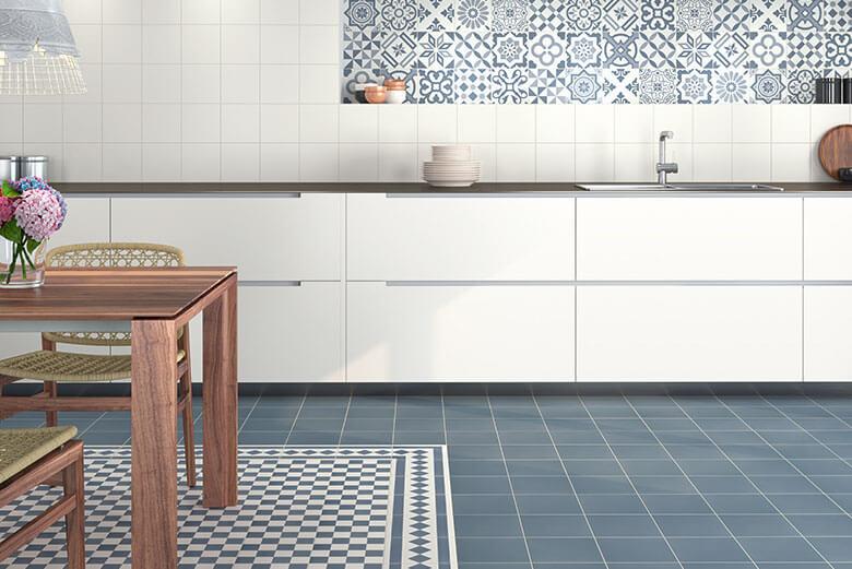 Beige vloertegels - Antigua Azul 002 - Randstuk 20x20