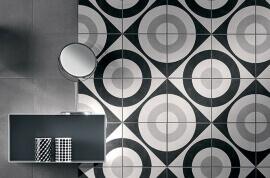 Witte vloertegels - Cementine Black&White 5