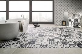 Witte vloertegels - Cementine Black&White Mix