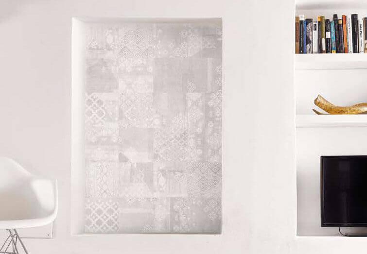 Witte wandtegels - Gesso Natural White Decoro Patchwork