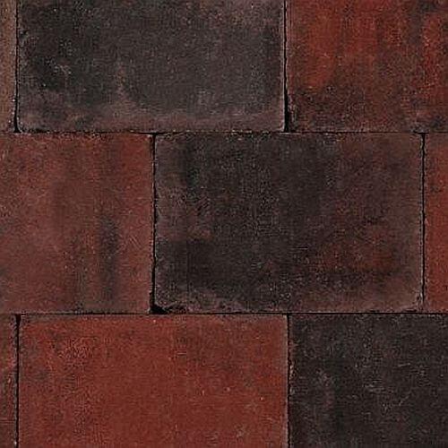 Betontegels 15x20 - Sierbestrating Trommel Rood / Zwart