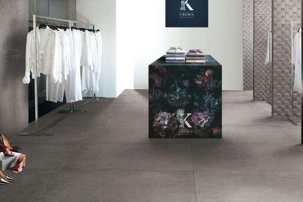 Vloertegels betonlook 100x100 cm - Square Grey Rock