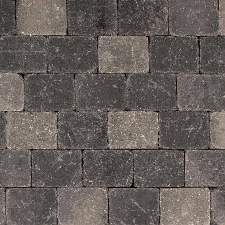 Betonbestrating - Metro Trommelsteen Grijs/Zwart