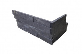 Leisteen wandtegels - Black Slate Stone Panels Flat Face - Hoekstuk
