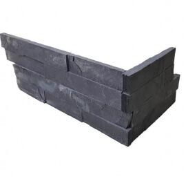 Antraciet wandtegels - Black Slate Stone Panels Flat Face - Hoekstuk