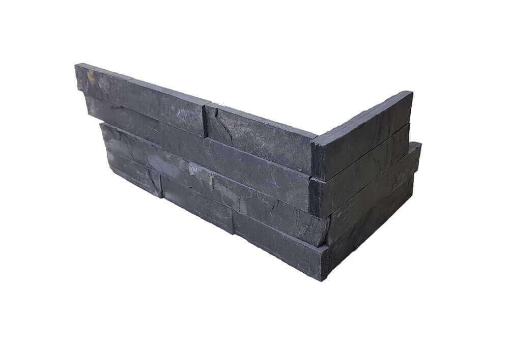 Natuursteen strips - Black Slate Stone Panels Flat Face - Hoekstuk