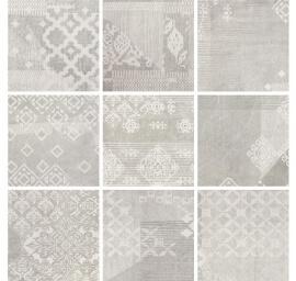 Vloertegels 20x20 - Gesso Pearl Grey Decoro Patchwork