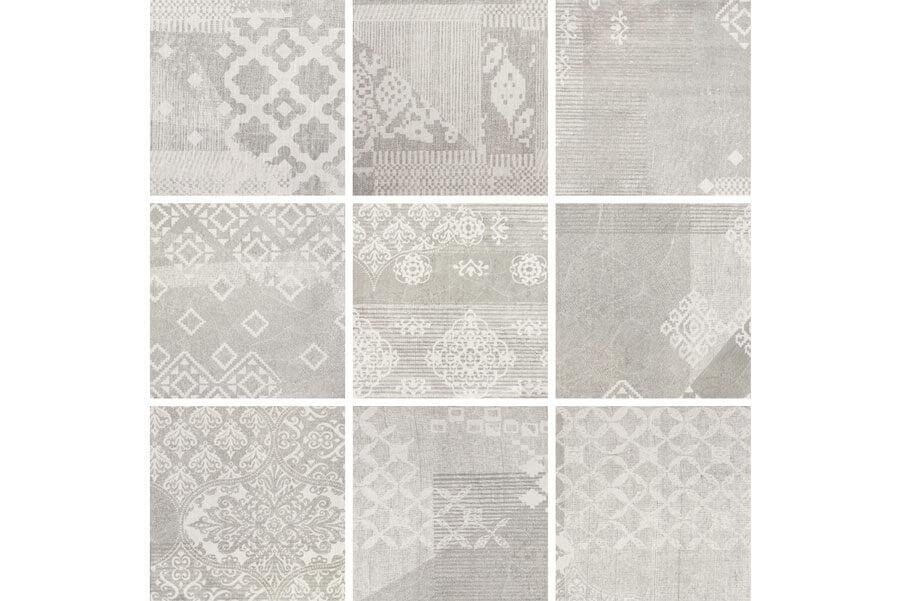 Vloertegels patroon - Gesso Pearl Grey Decoro Patchwork