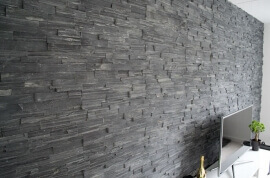 Black Slate Stone Panels - Split Face