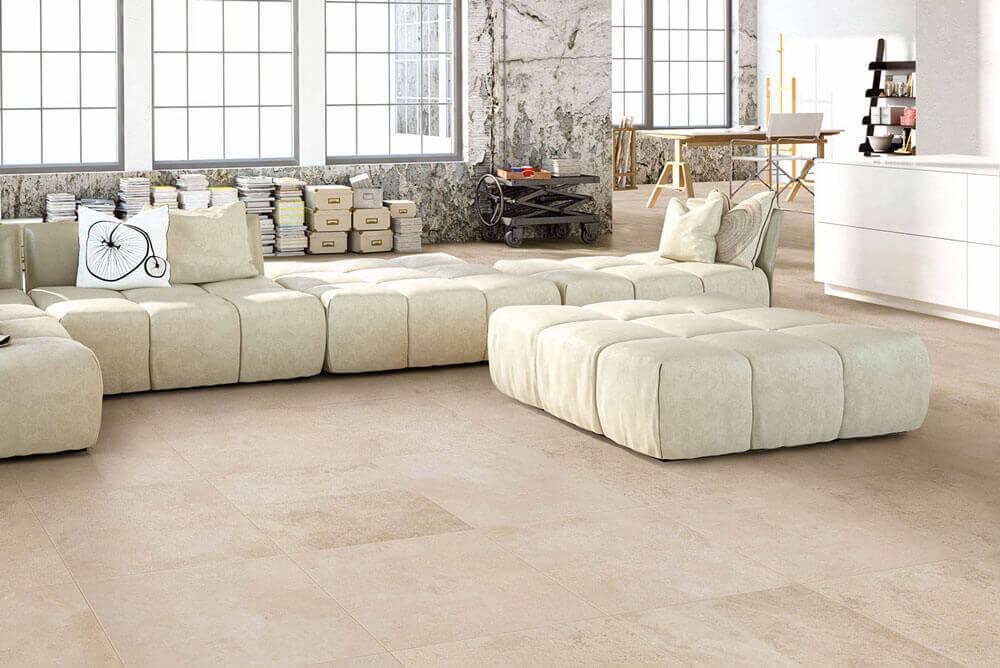 Vloertegels betonlook 80x80 cm - Concrete Gravel Cream