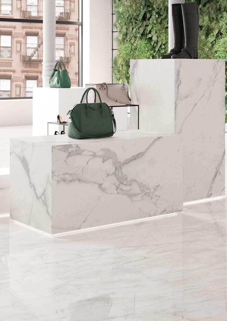 Hoogglans vloertegels - Bianco d'Italia Arabescato - Gepolijst
