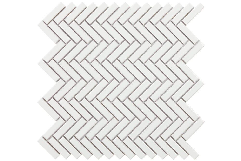 Mozaïek tegels - Chevron White Gloss