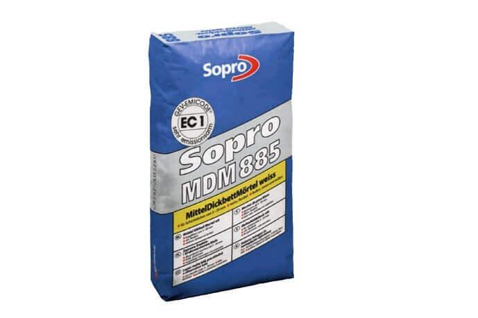 Lijm en voegmortel buiten - Sopro 885 Lijm Middel/Dikbed Wit