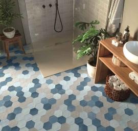 Vintage wandtegels - Hexa Off Blue - Mat